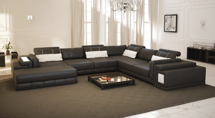 wohnlandschaft leder. Black Bedroom Furniture Sets. Home Design Ideas