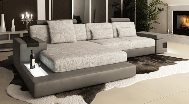 HAMBURG III   Ecksofa Textil Und Leder Kombination Von Bullhoff By Giovanni  Capellini I Zeitlose Couch Mit LED Licht | Wohnmeile.de