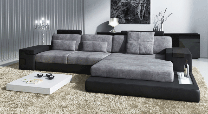 Sofa Leder/Stoff Hamburg III