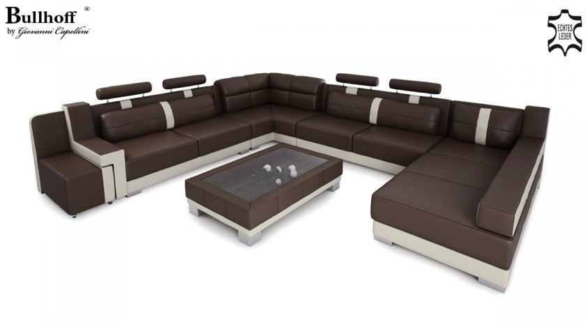 ecksofa u form leder. Black Bedroom Furniture Sets. Home Design Ideas